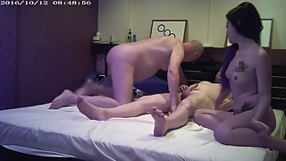 Old cuckold watches his wife with a big cock guy