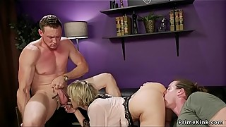 Domme woman fucking the guy in front of husband