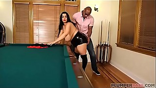 Sexy chubby wife fucks big black cock after losing pool game