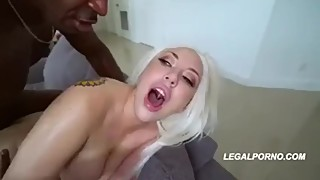 Double black cock for blonde wife cuckold