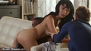 Asian mother-in-law gets big black cock surprise!