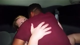 Sharing my wife milf in the back of the car, interracial fuck