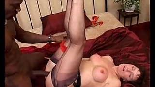 Milf in black seamed stockings sucking and fucking big black cock