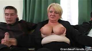 A threesome orgy with granny