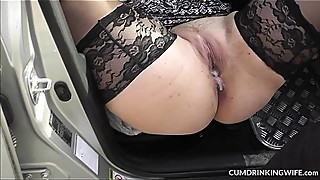 Slutwife fucked by strangers in her car