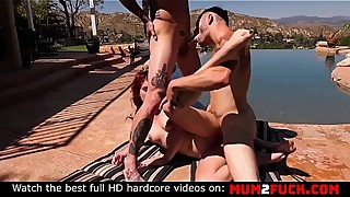 Sexy emily blacc and his wife bi-outdoors fucking
