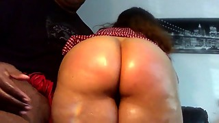 Spanking my big booty latina wife, thick, juicy pink pussy. spanish ass
