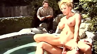 Blonde swinger wife outdoors, fucking a stranger