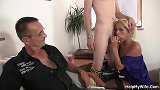Hot blonde wife sucks and rides a young cock