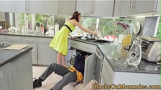 Big black cock craving housewife loves a threesome