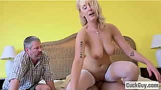 Busty blonde wife gets banged in front of her husband