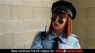 Sexy cougar alexa new in a police uniform to deceive her husband and two prisoners