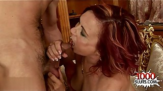 Horny housewife throat fucking