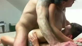 Tattooed hot wife gets a double dicking