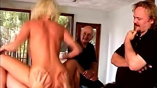 Perv makes his friends fuck his stunning blonde wife on pool table