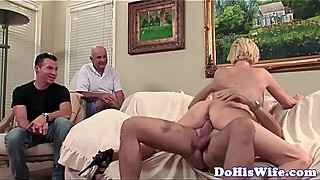 Plump beautiful woman in action cuckold