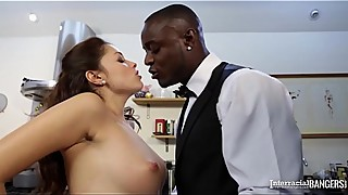 Interracial sex in the kitchen, the british housewife ava dalush shows to black cock