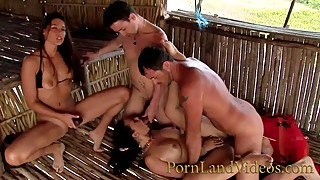 Whore wives, hot, fucking, anal, orgy on the beach double penetration