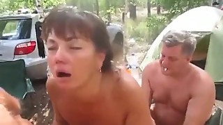 Russian slut wife gets fucked by a group of
