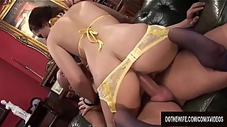 Mrs. carey, the price humiliates her cuckold hubby while getting her pussy plowed
